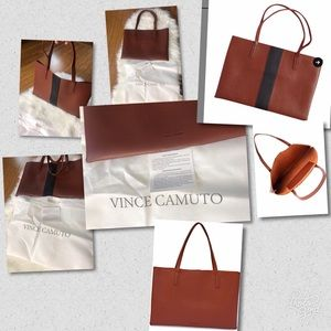 Vince Camuto Brown Tote With Black Stripe.
